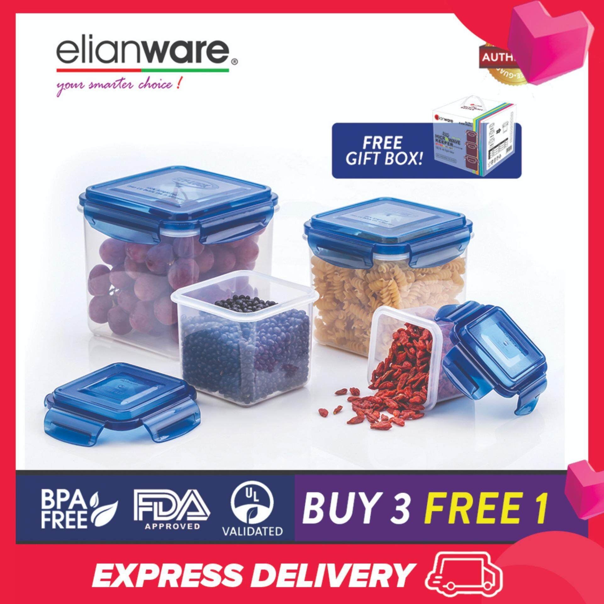 Elianware Ezy-Lock Airtight Seal [2.6L] Microwavable Food Containers [BUY 3 FREE 1]