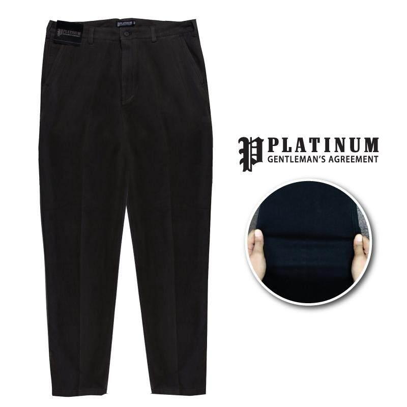 PLATINUM BIG SIZE Flat Front Chinos PM661 (Black)
