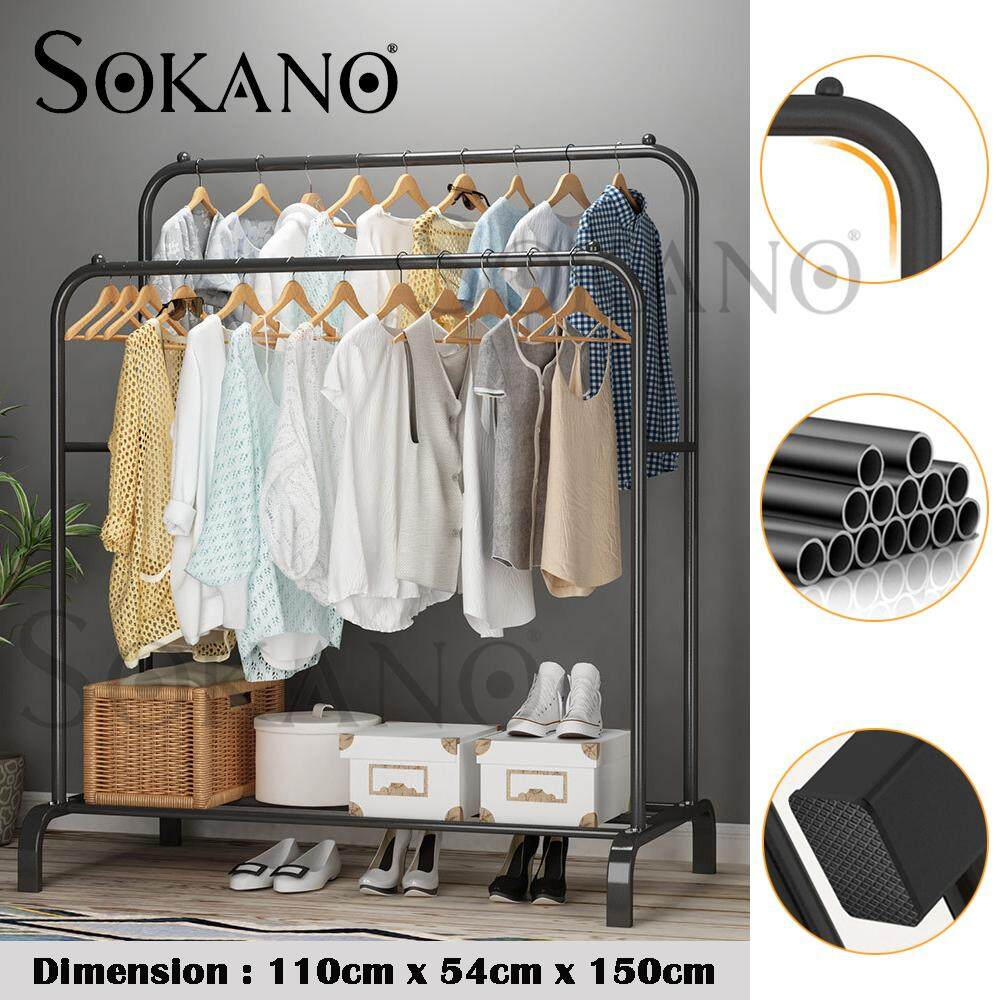 SOKANO OR002 110cm Double Pole Strong Steel Structure Laundry Rack Cloth Organizer Cloth Hanger Rak Baju