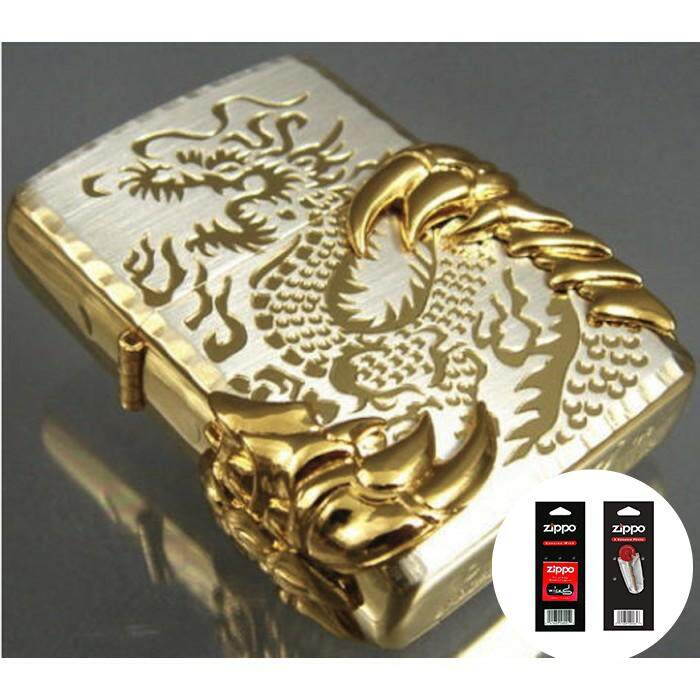Gold Ice Japanese Engraved Dragon 08 Zippo Lighter - FREE 1 set Wick and Flint
