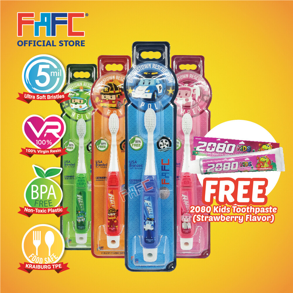 STRAWBERRY - (4 Pcs) FAFC Robocar Poli Hook Kids Toothbrush FREE 2080 Kids Toothpaste (Strawberry Flavor)
