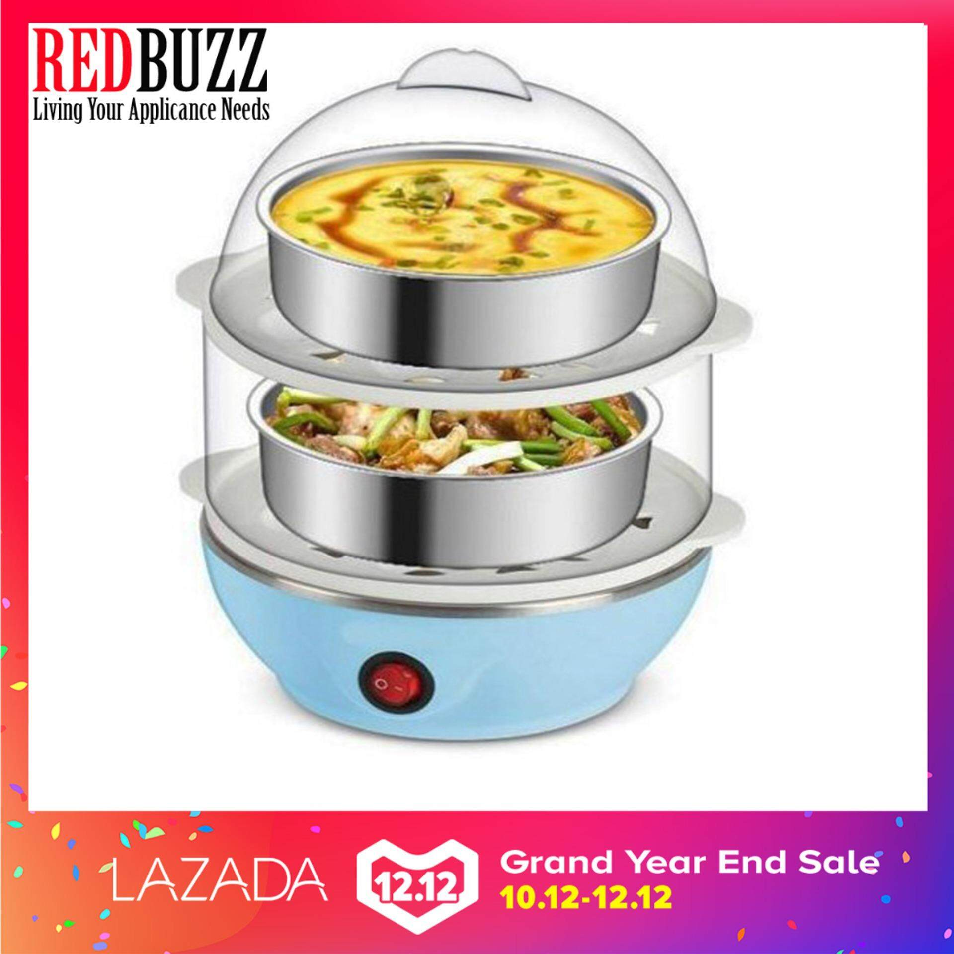 Multi-Function 2-Layer Electric Food and Egg Cooker/ Boilers & Steamer(Blue)