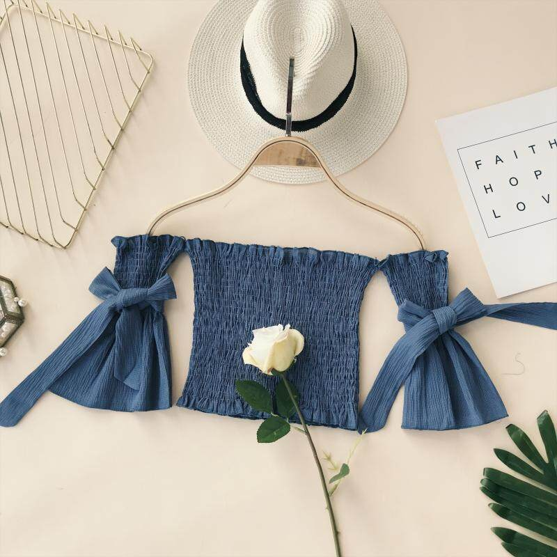 ?READY STOCK?Pleated word collar off-the-shoulder chest butterfly lace short-sleeved high-waist short crop top