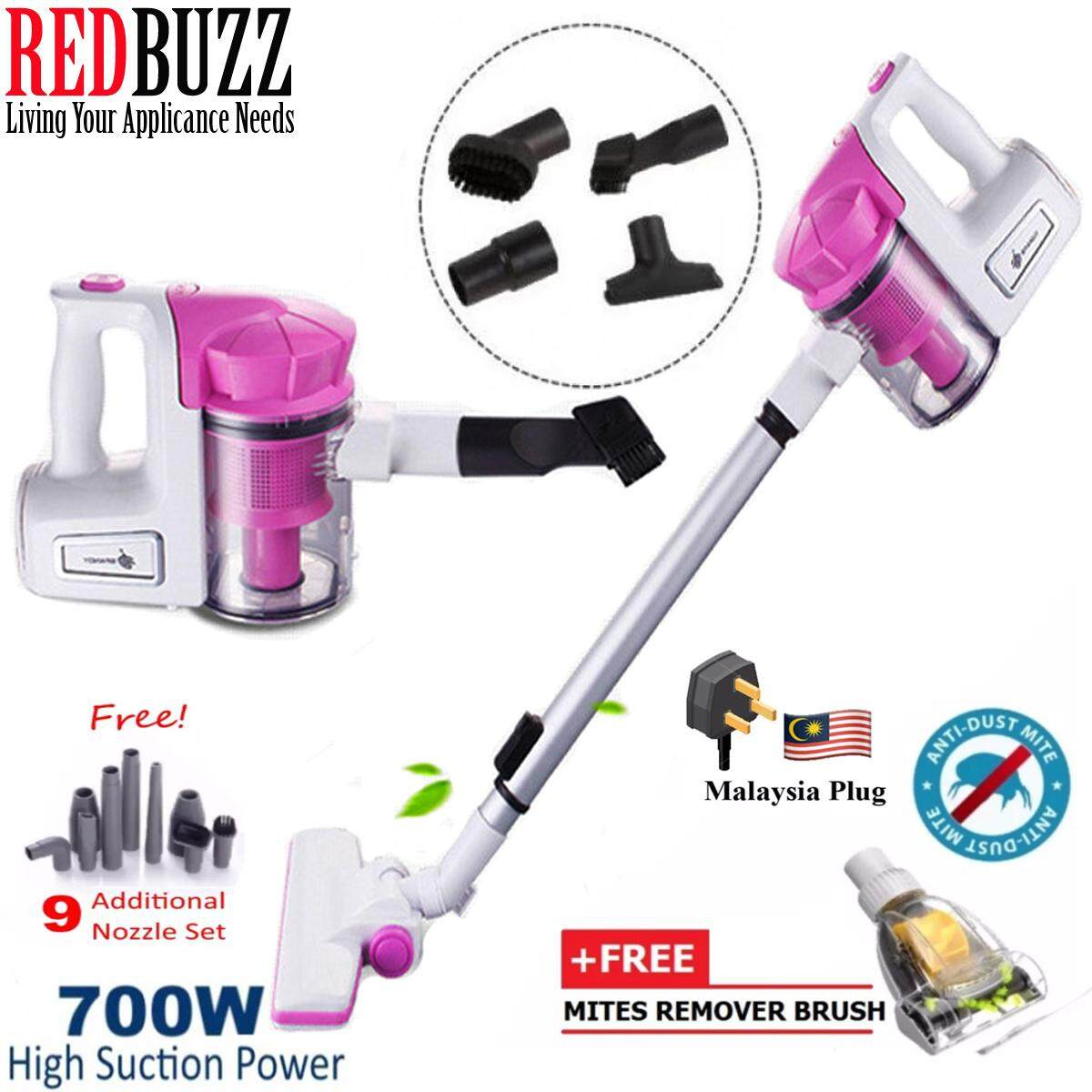 (Malaysia 3-Pin Plug) Spandy 2 in 1 Handheld Cyclone 700W Strong Suction Vacuum Cleaner + Free Mites Removal Brush + 9 Nozzle Set