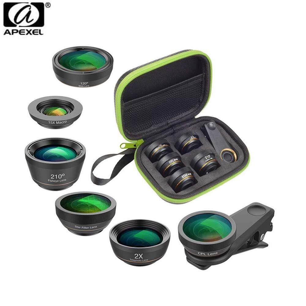 Apexel APL-DG6 6 IN 1 Smartphone Lens Kit for Smartphone Iphone, Samsung, Huawei, Oppo handphone huawei P20 P10 P30 Mate Honor Nova oppo vivo xiaomi apple iphone samsung note 9
