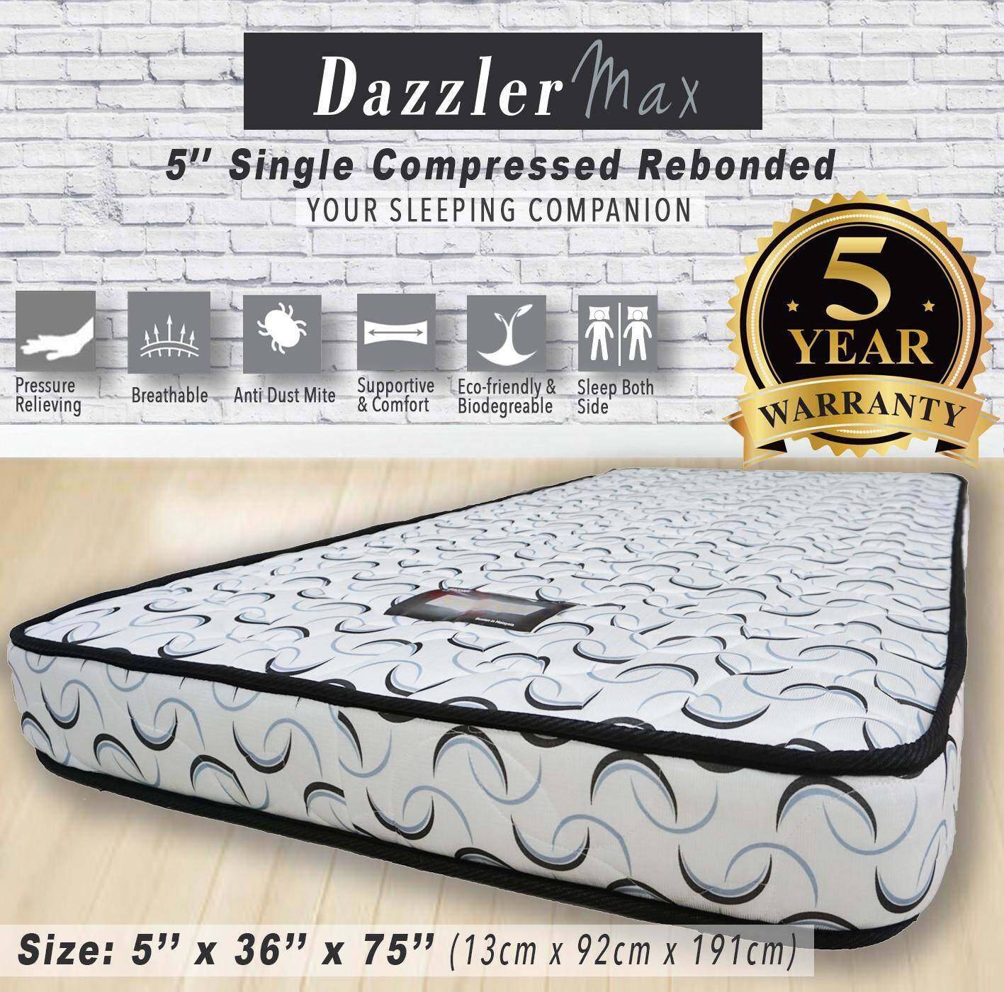 Dazzler Max 5 High Quality Single Compressed Rebonded Mattress Bed Tilam 5 years Warranty