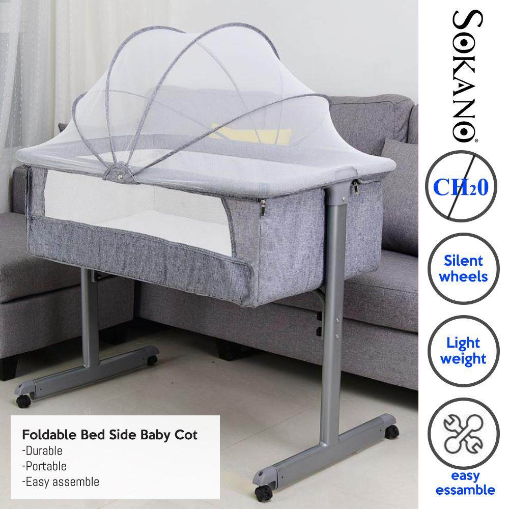 [11.11]  Foldable Bed Side Baby Cot Baby Bed Portable Bed Connected with Parents Normal Big Bed Infant Travel Sleeper Portable Cot Katil Bayi Tepi Katil