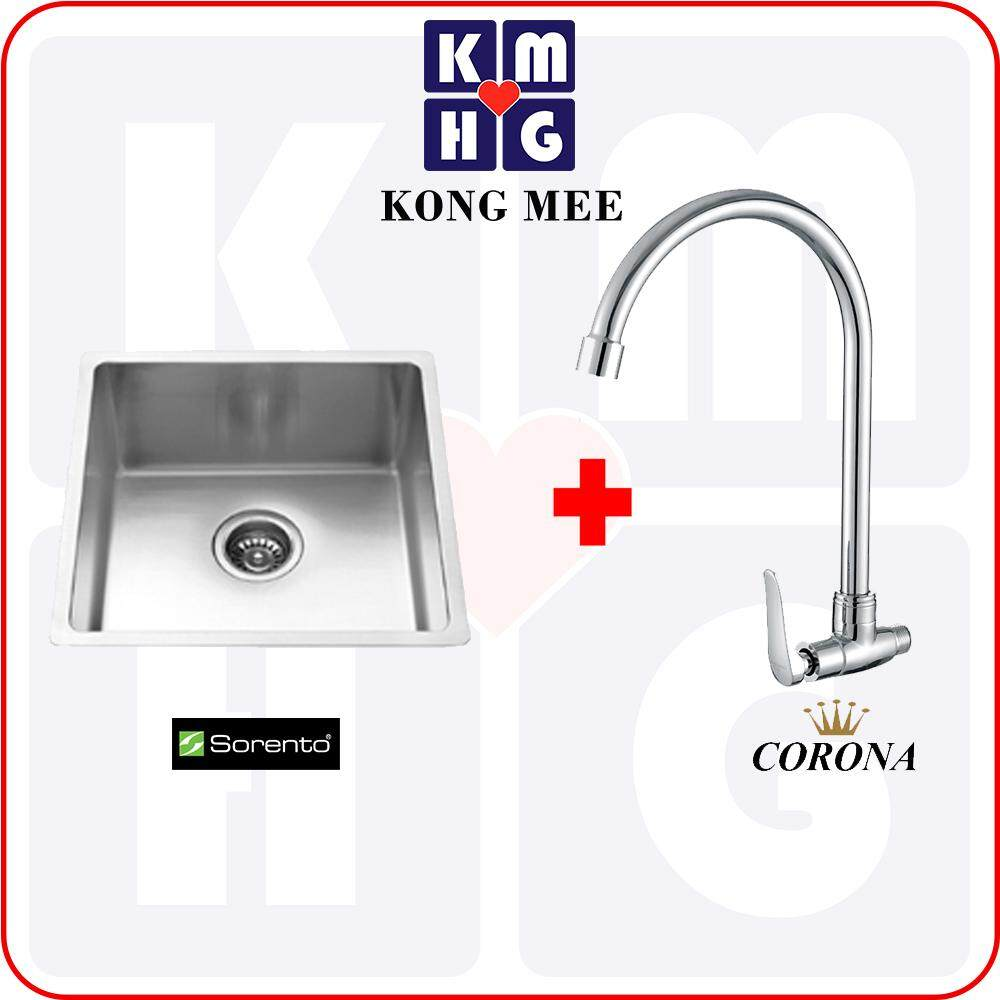 Sorento Italy - Stainless Steel 304 Single Deep Bowl Kitchen Sink (SRTKS1009L)  High Quality Premium Home Kitchen Restaurant Basin Faucet