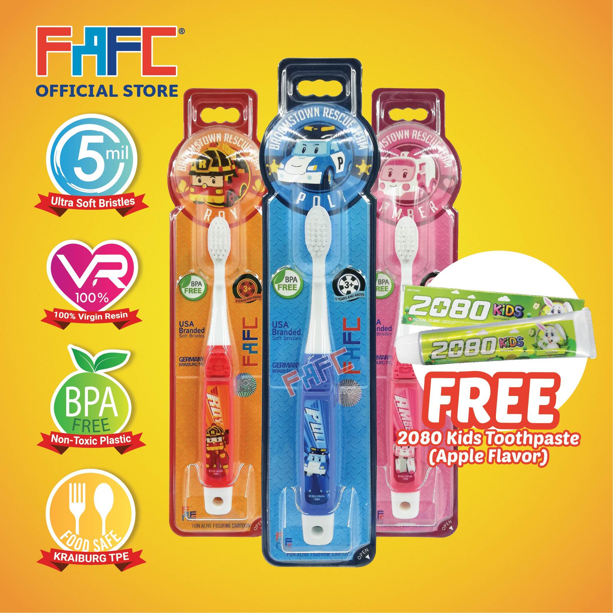 POLI AMBER ROY - (3 Pcs) FAFC Robocar Poli Hook Kids Toothbrush FREE 2080 Kids Toothpaste (Apple Flavor)