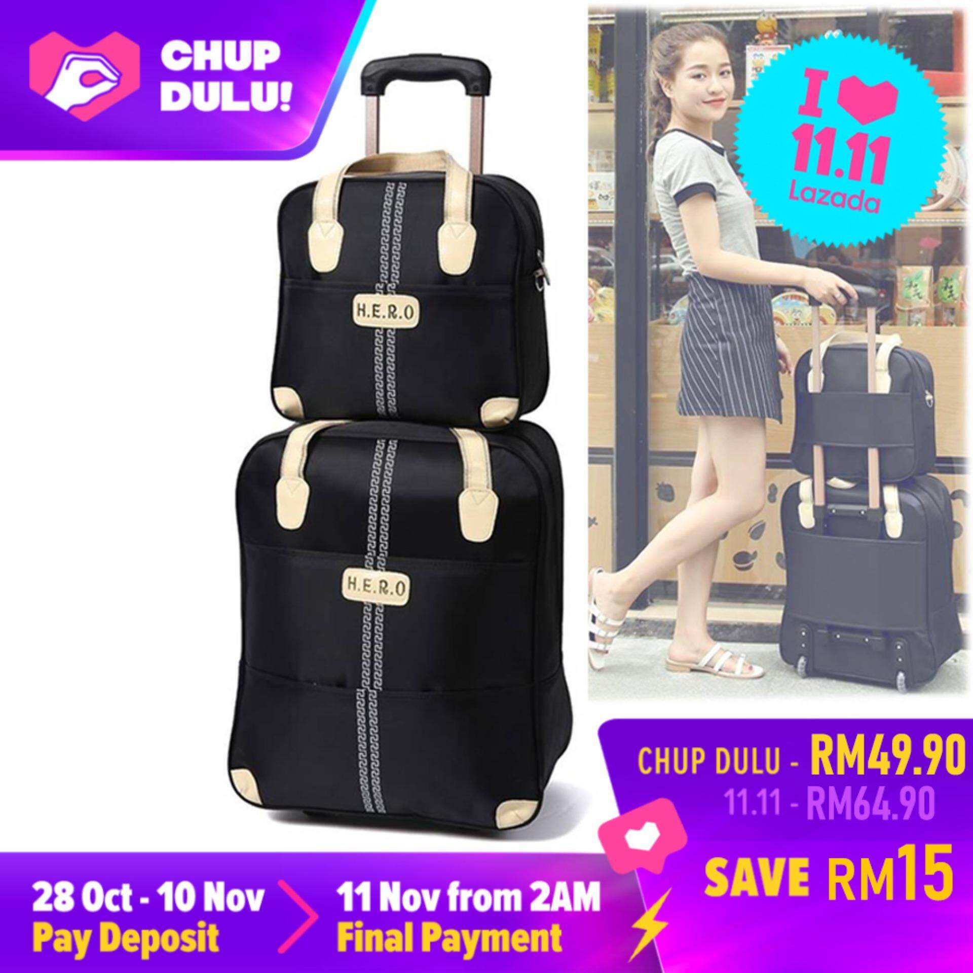 [11.11 CHUP DULU] Travel Star 2 in 1 HERO Travel Bag with Trolley - Black