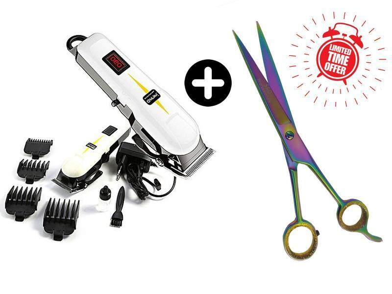 Combo Deal - Gemei GM-6008 Professional Hair Clipper + 7.5  Professional Hairdressing Scissors Barber Shears Cutting
