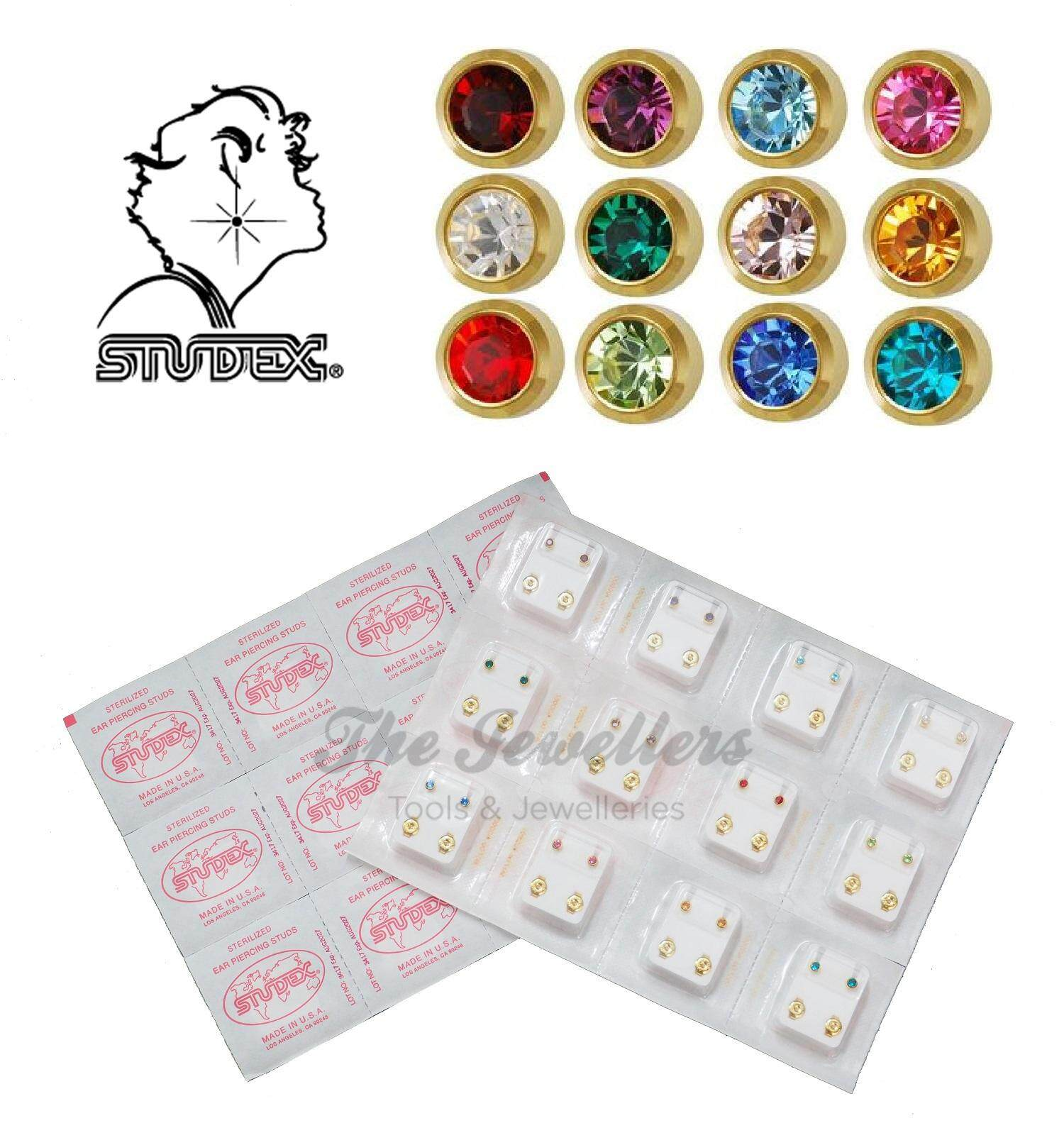 Studex 12 Pairs 4mm Gold plated Ear Piercing Stud Earrings Set with 12 Different Color
