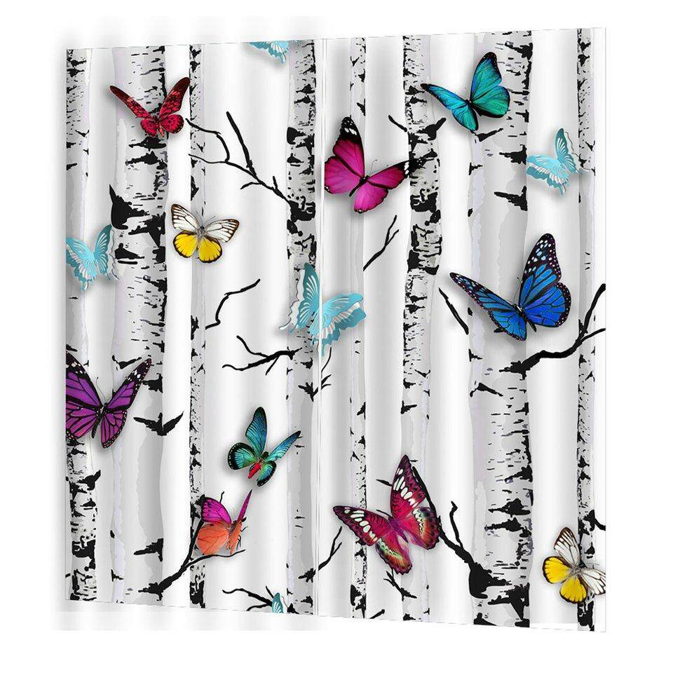 Best Sellers Colorful Tree Butterfly Curtain Cute Living Bedroom 3d Wolf Curtain 140*100cm Trendy Living Room Bedroom Blackout