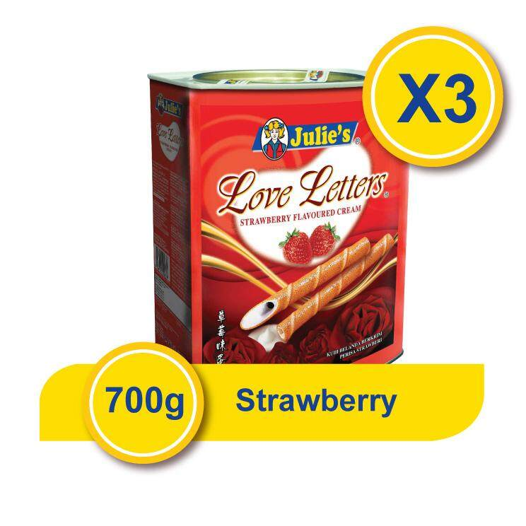 Julie's Love Letters Strawberry (700g x 3 Tins)