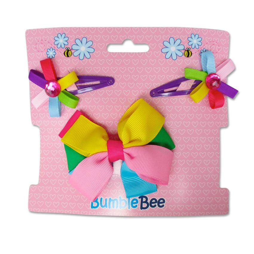 Bumble Bee Hair Clips Set (Multicolour)