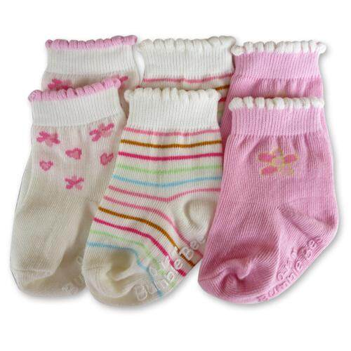 Bumble Bee 3 Pairs Pack Pink Flower Socks (S0099L)