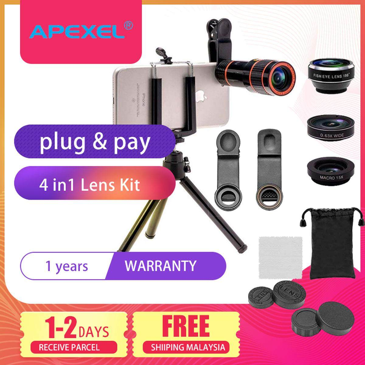 Apexel 4in1 Camera Lens Kit (telescope, fisheye,Wide Angle,Macro, Mini Tripod & Phone Holder) for mobile phone apple iphone samsung vivo oppo huawei xiaomi travel portable(APL-HS12XDG3ZJ)