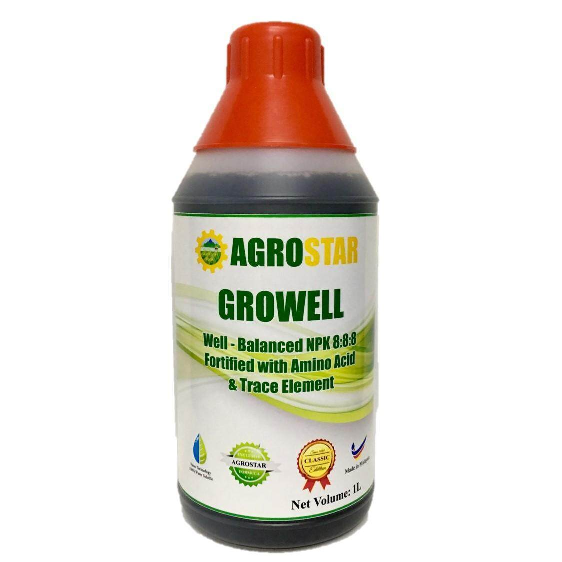 Growell - Well Balanced NPK 8/8/8 Fortified with N P K, Amino Acid and trace element Liquid Fertilizer (Agrostar Brand) for Vegetables, Fruits & All ornamentals especially young developing plants  1L (Black)