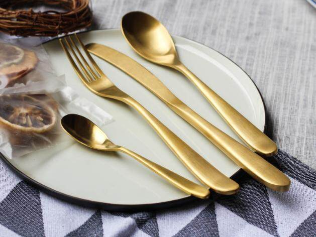 304 Stainless Steel Cutlery Set - Gold (4 pcs)
