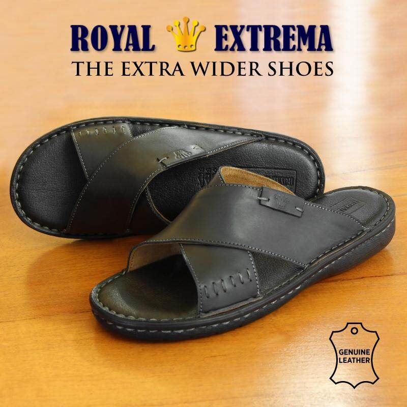 ROYAL EXTREMA EXTRA WIDE Leather Cross Slide Sandal Black RESD0004