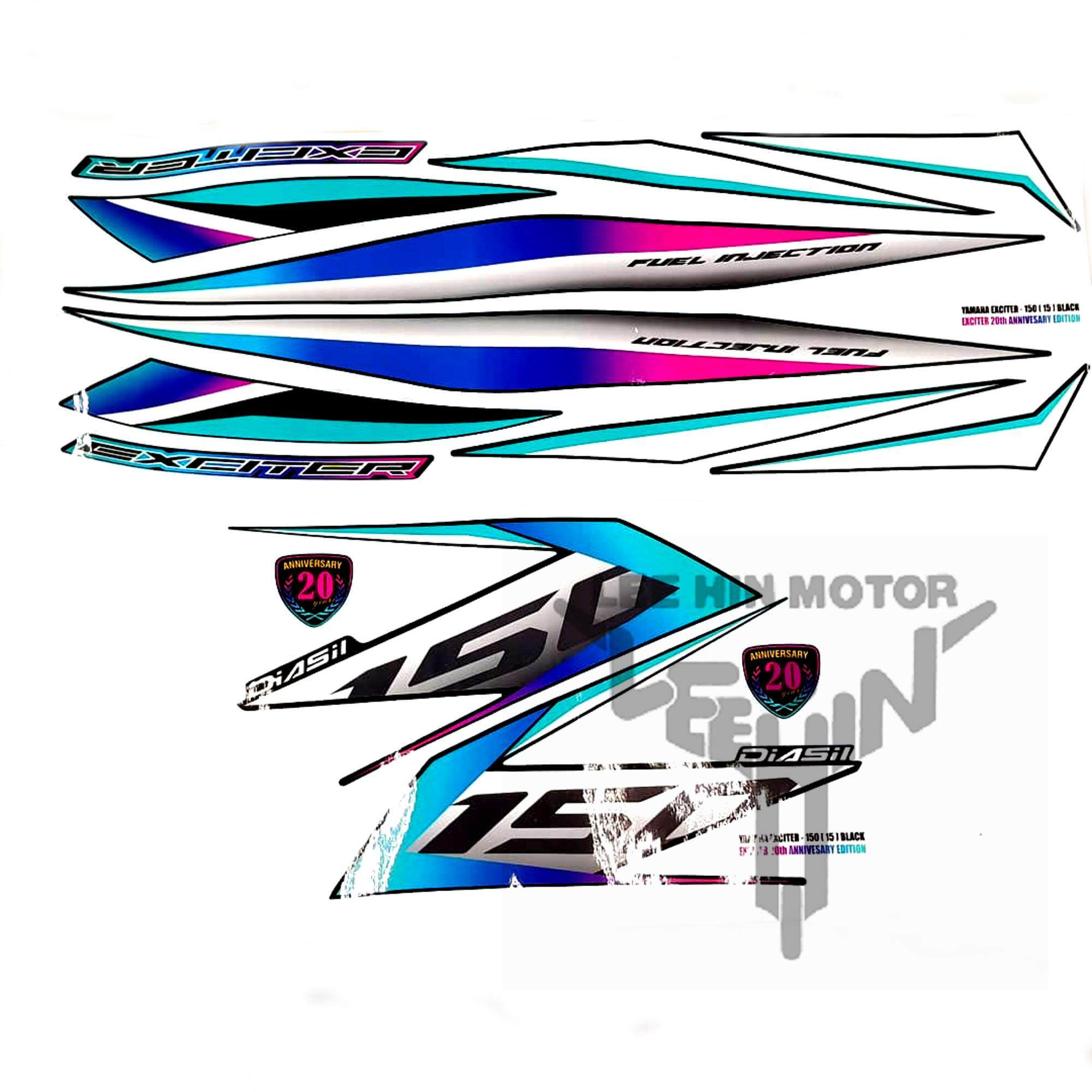 Yamaha Exciter Y15ZR 150 Body Sticker / Stripes Exciter 20th Anniversary Edition ( Black )