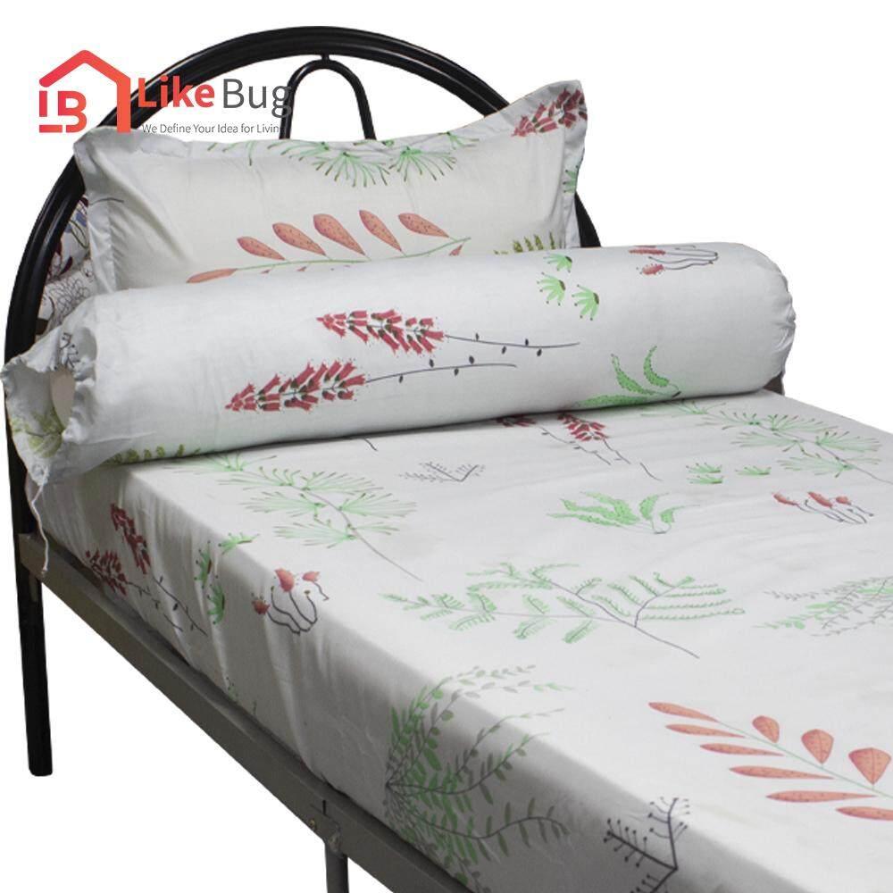 LIKE BUG : Floral Design Bed Sheet -Green Leaf