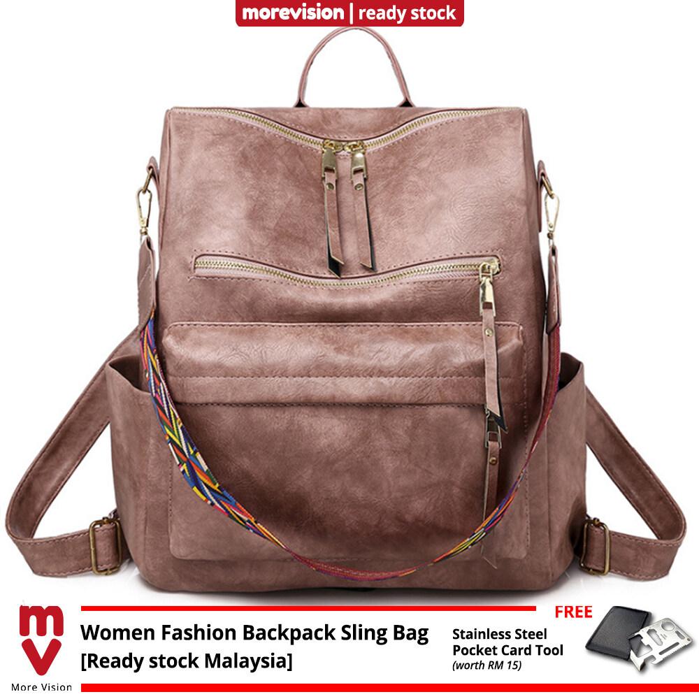 MV Bag Women Fashion Backpack Sling Bag Travel School Leather Shoulder Beg Perempuan Handbag Bags -MI5864