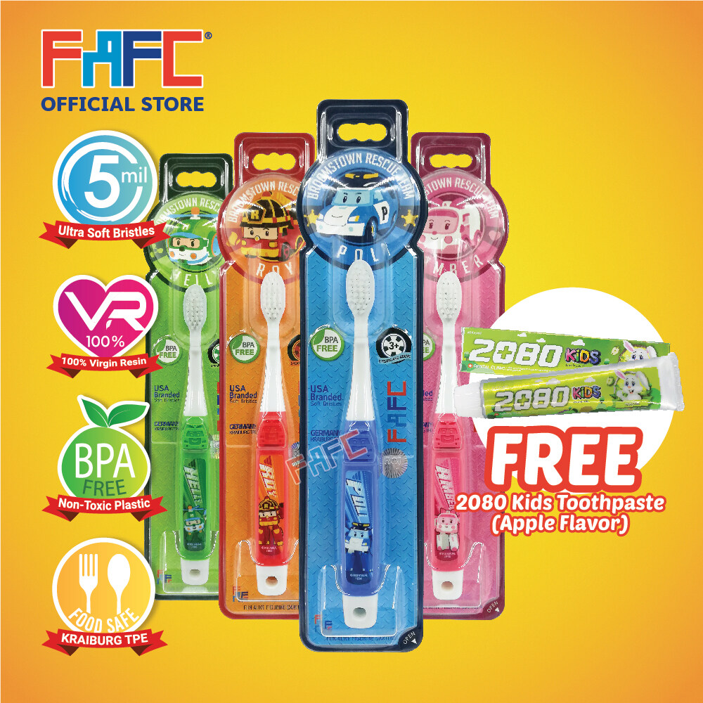 APPLE - (4 Pcs) FAFC Robocar Poli Hook Kids Toothbrush FREE 2080 Kids Toothpaste (Apple Flavor)