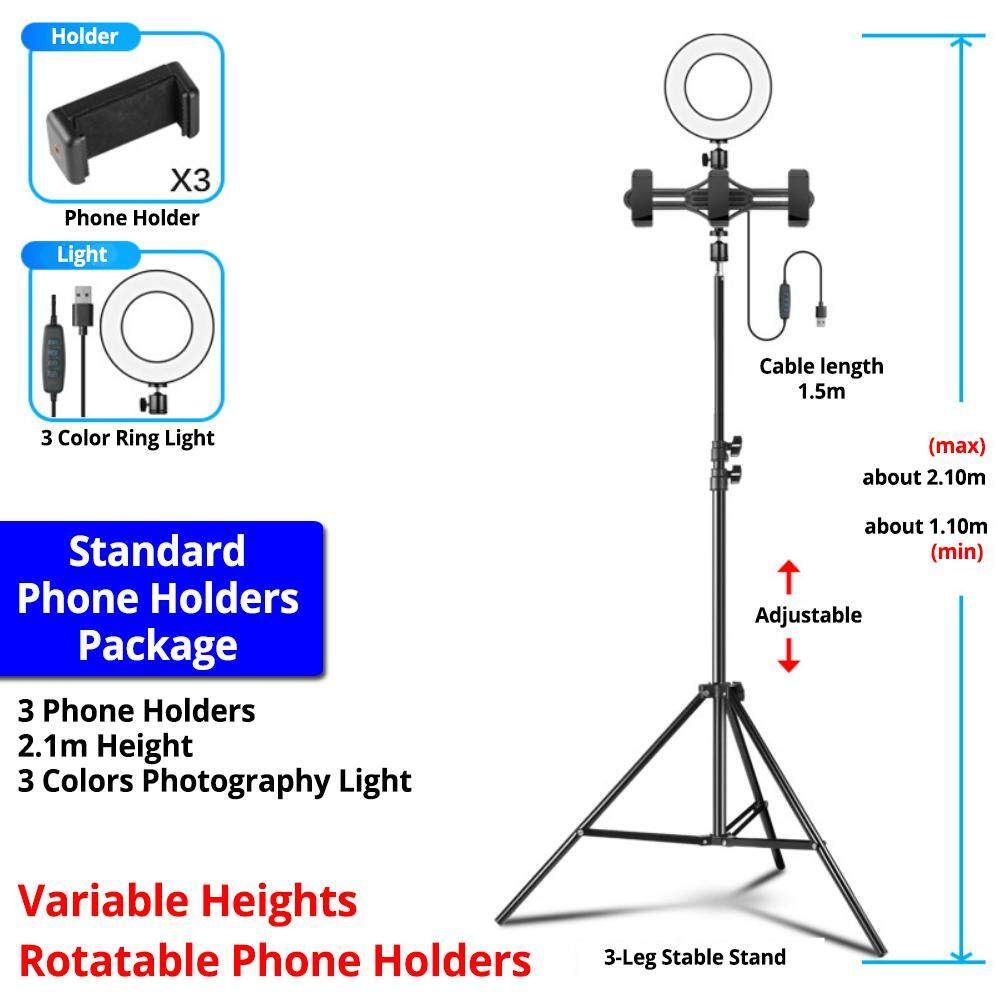 Professional 2.1m Mic Stand Video Light 3 Phone Holder Recording Microphone Sound Card Holder - Standard 3 Phones Holder