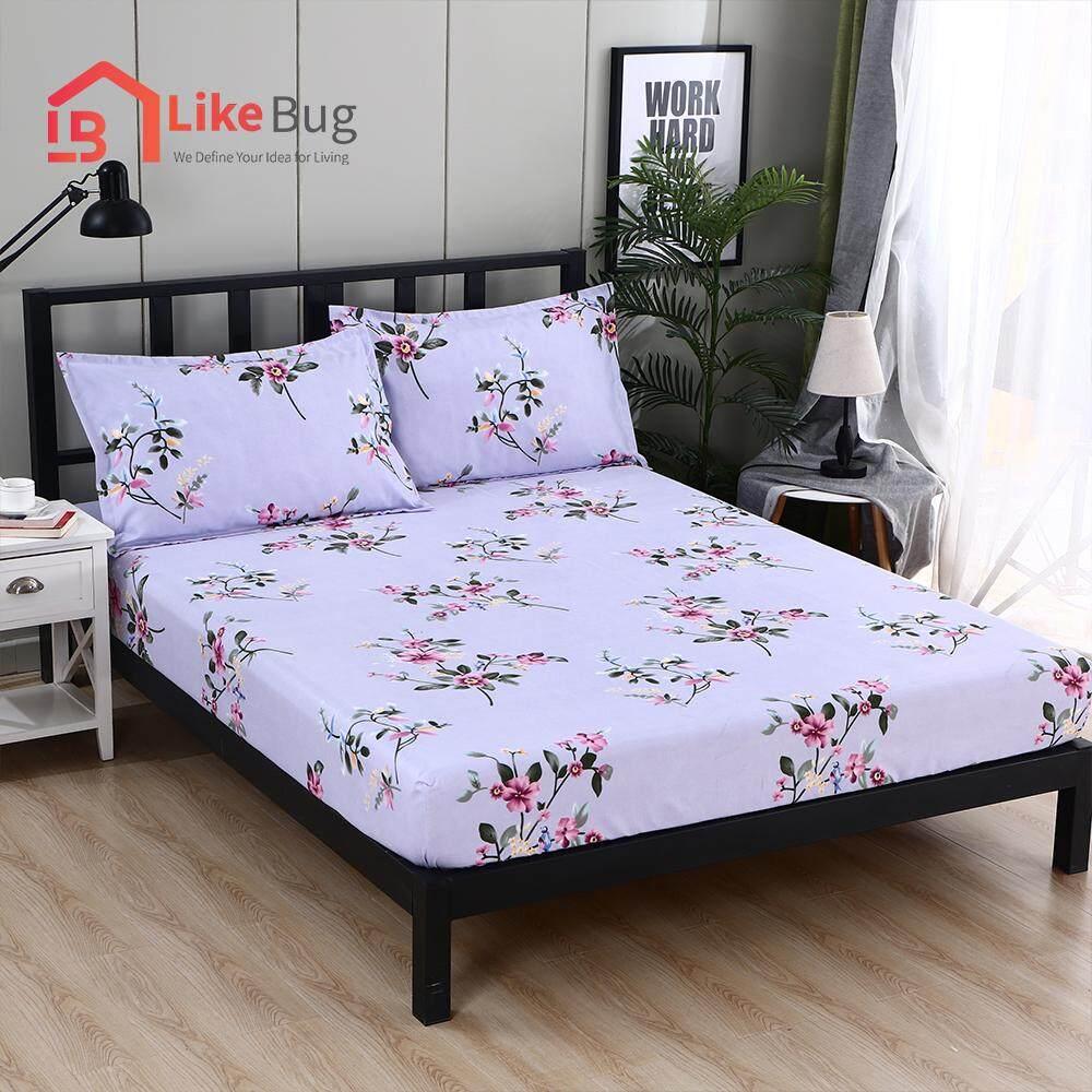 LIKE BUG : Floral Design Bed Sheet -Purple Floral
