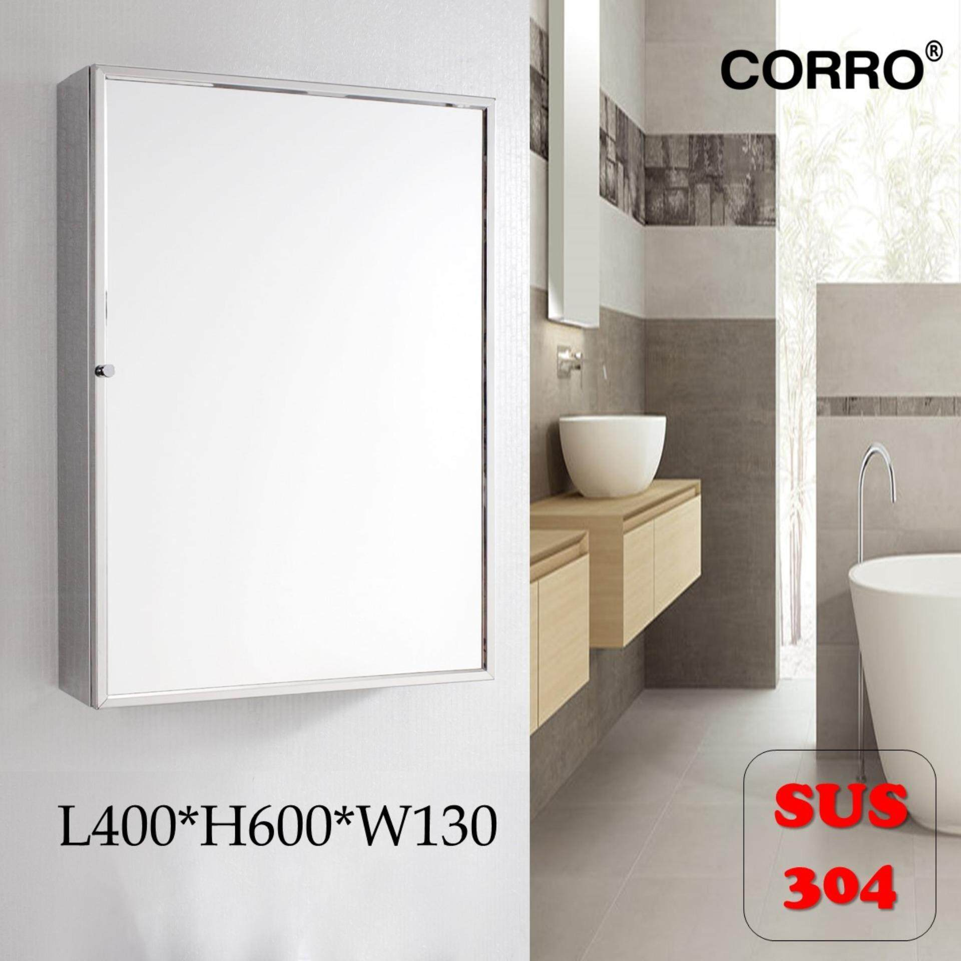 CORRO SUS304 Stainless Steel Bathroom Mirror Cabinet -L400 x H600 x W130mm