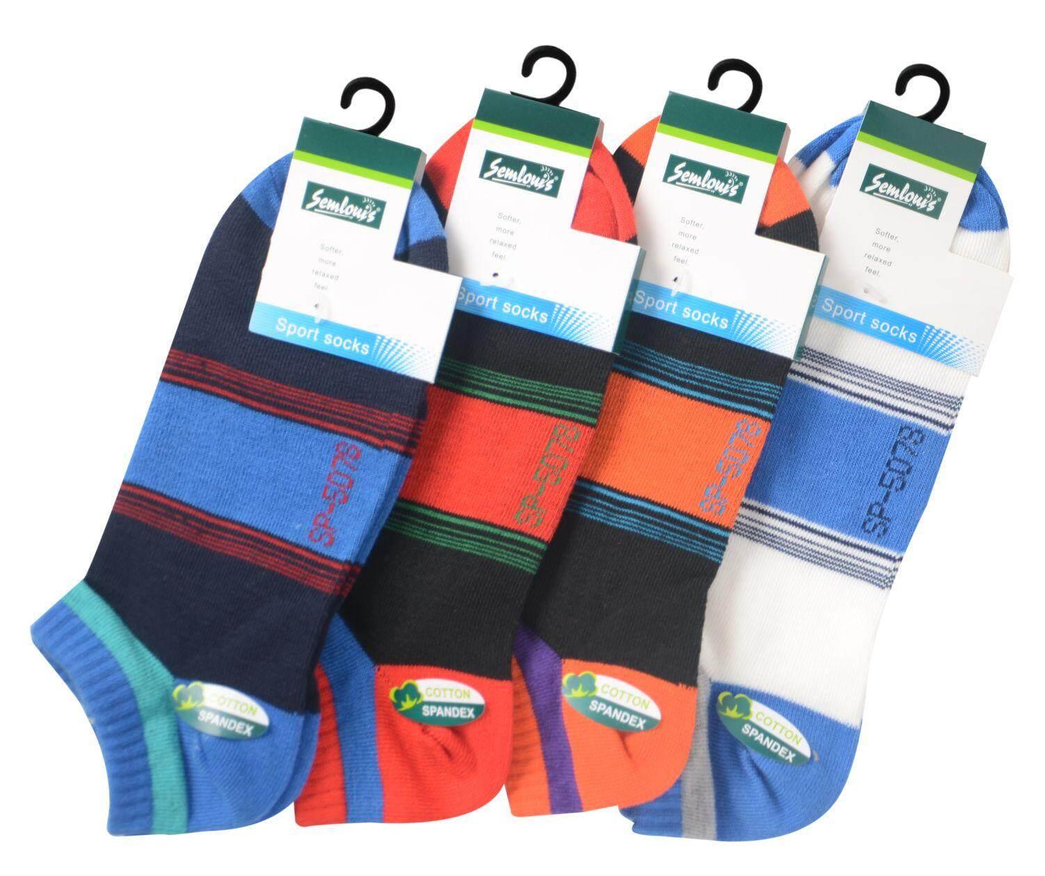 Semlouis Sport Ankle High Socks - Broad Stripes Mix Colour / PAIR