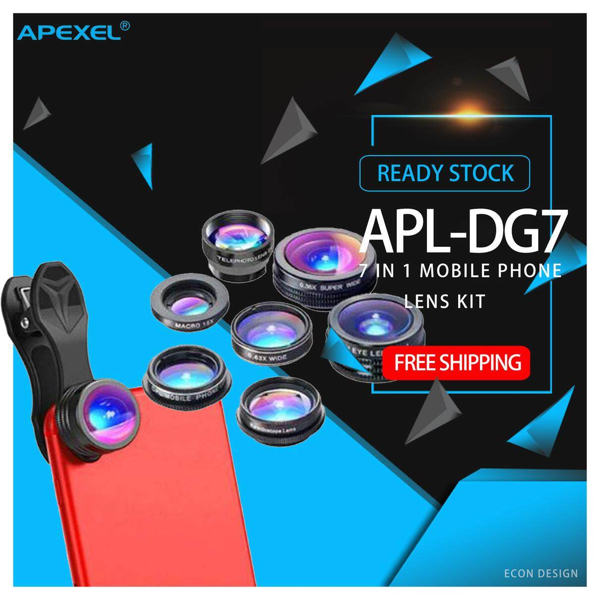 Apexel 7 in 1 mobile phone Lens Kit 0.36X Wide Angle Macro Lens CPL 2X Telescope camera Lens (APL-DG7) samsung apple iphone huawei xiaomi vivo oppo photo video travel portable
