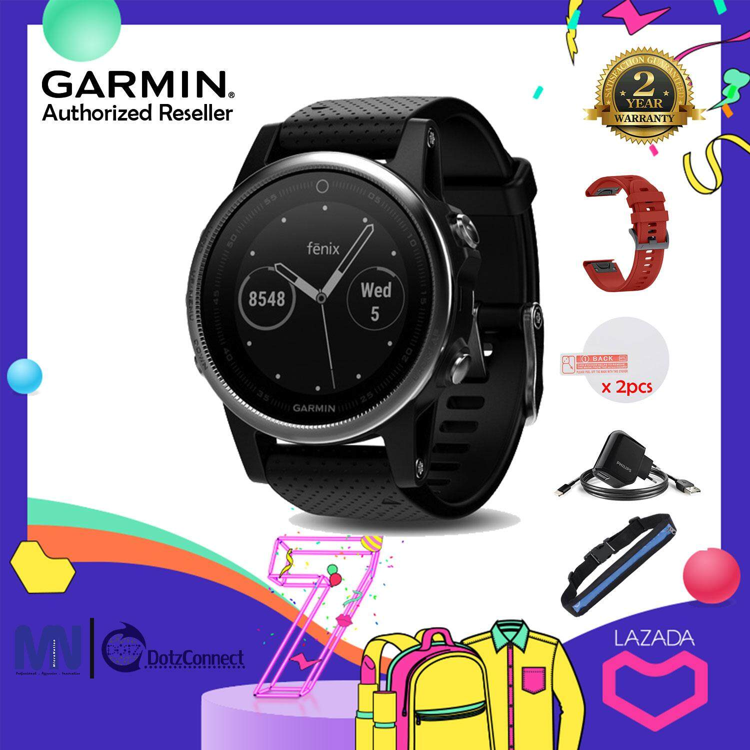 Garmin Fenix 5S Sapphire Black multisport GPS watch [Free] Philips Dual USB Car Charger with Lightning Cable