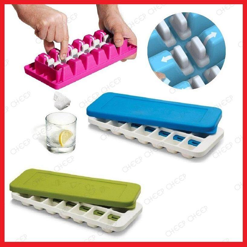 One Push Easy Release Ice Tray with Lid – Quick Push To Snap Out Ice Cubes 14 Grid BPA-Free PP No Odor Stackable Ice Cube Tray Mould to Make Jelly Fruit Ice Lolly