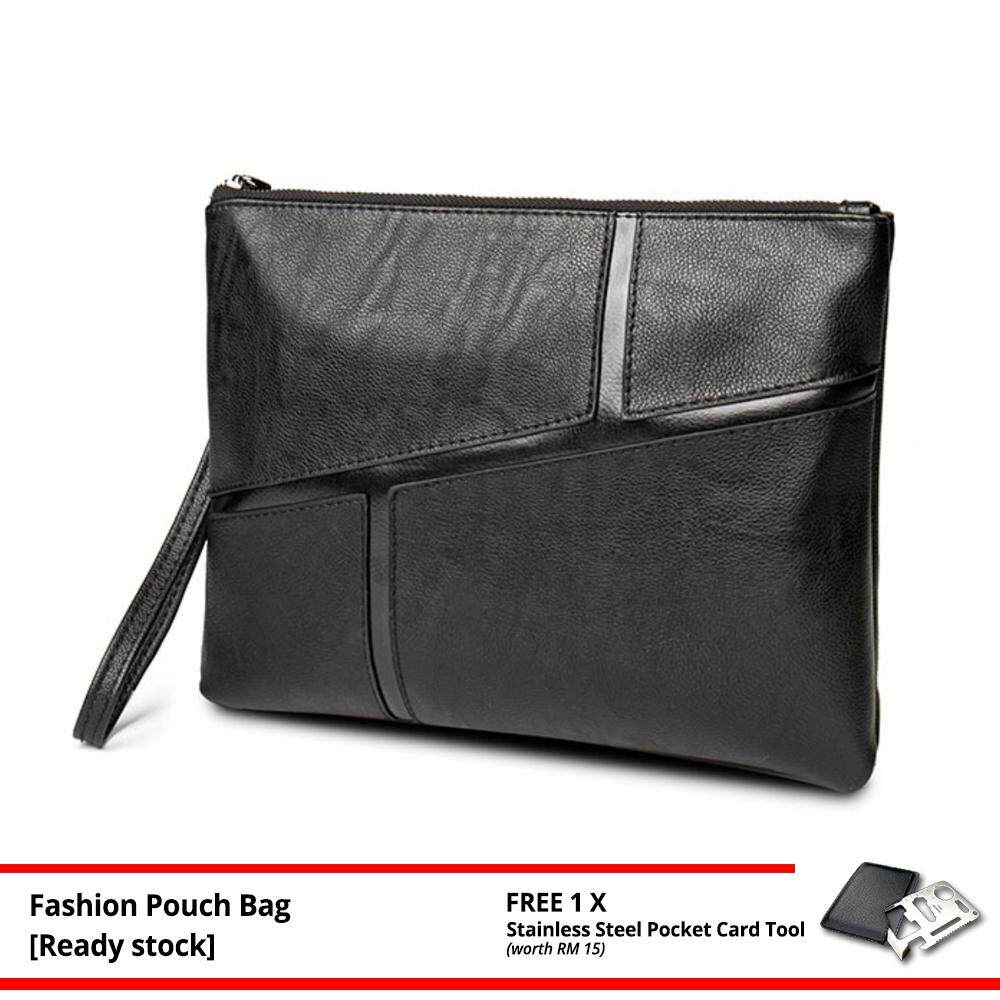 [Ready Stock] MV Bag MEN High Quality Leather Purse Wallet Casual Pouch Clutch Bag Business Handbag 133 MI1331