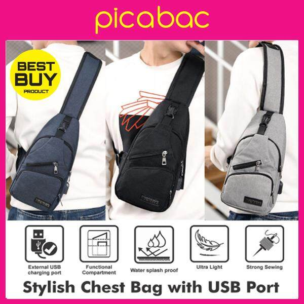 Picabac Stylish Chest Bag With USB Port PACHB-SM0002