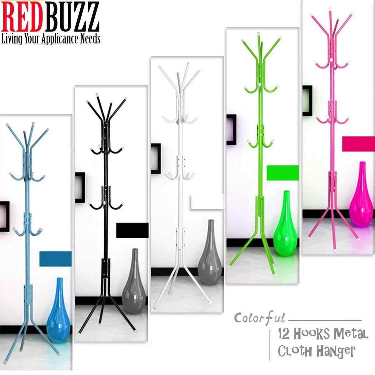 REDBUZZ 9 Hooks /12 Hooks Metal Cloth Hanger Multi Purpose Hanging Pole Stand Cloth Rack