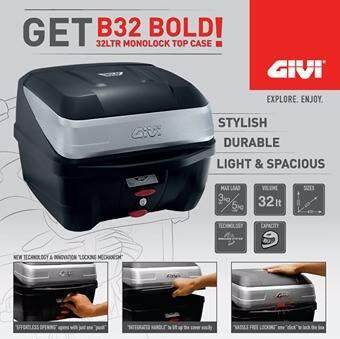 GIVI Box B32 Bold - 32Litre Monolock Topcase, B32 BOLD