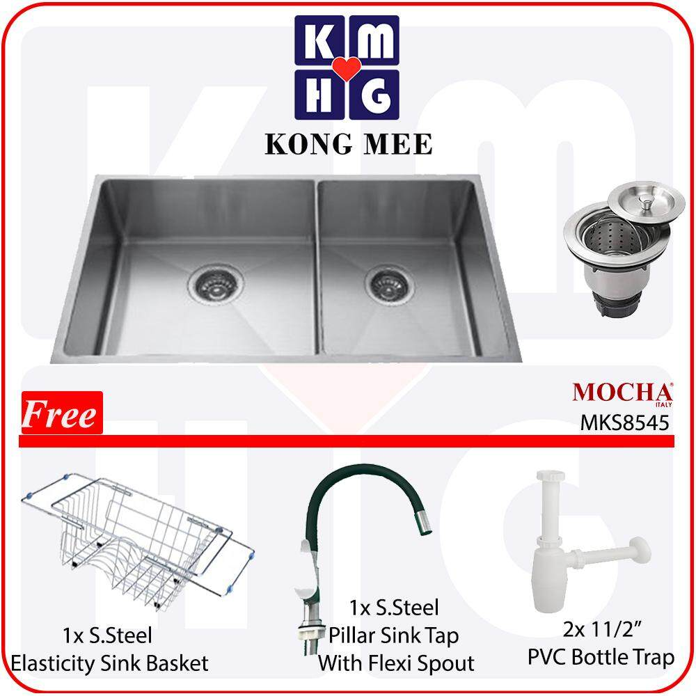 Mocha Italy - Nano Tech Handmade Undermount Kitchen Sink (Stainless Steel 304) (MKS8545)  High Quality Premium Two Basin Home Restaurant Wash Dishes Luxury