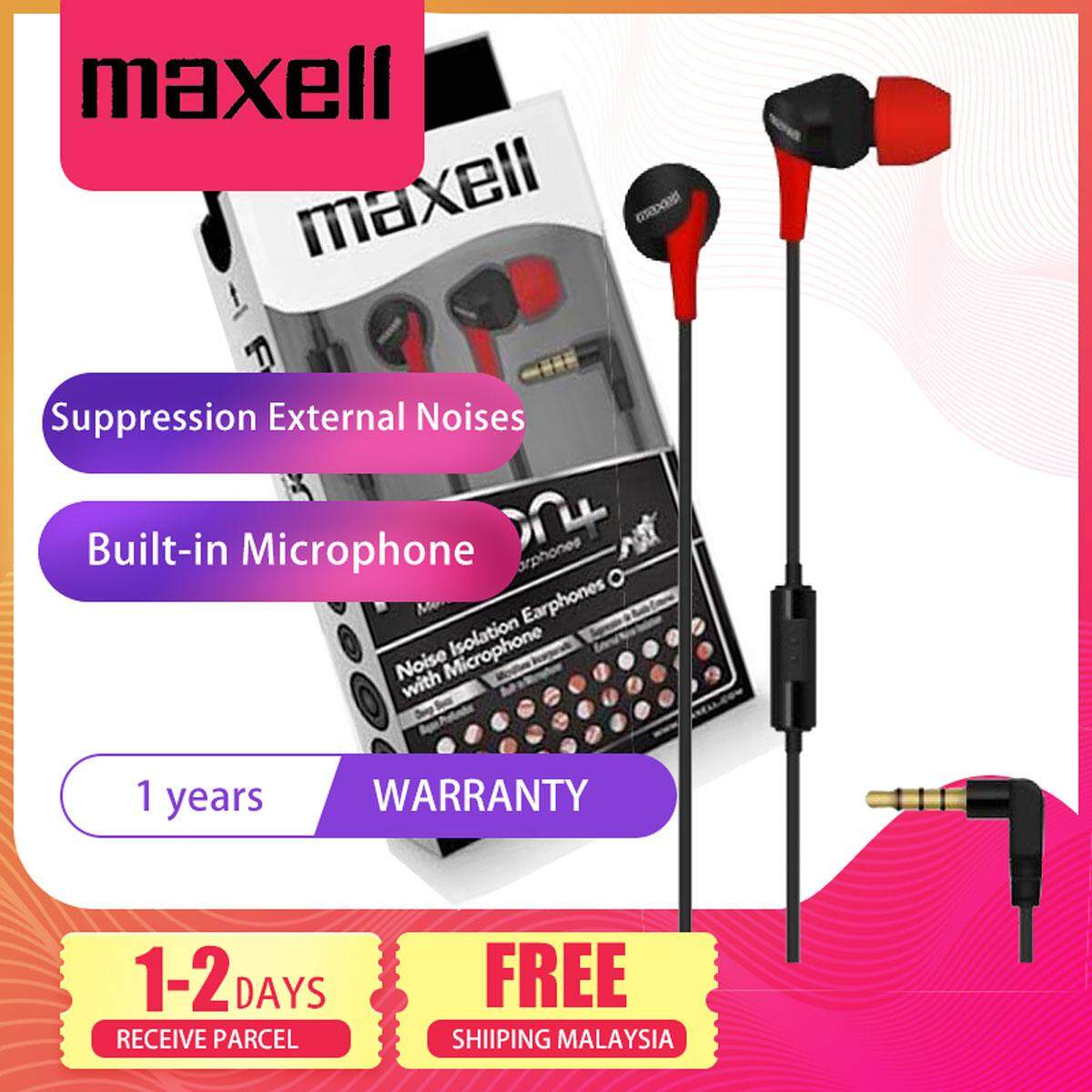 Maxell Fusion+ Ear Buds with Built-in earphone Microphone Blood for Mobile Phone