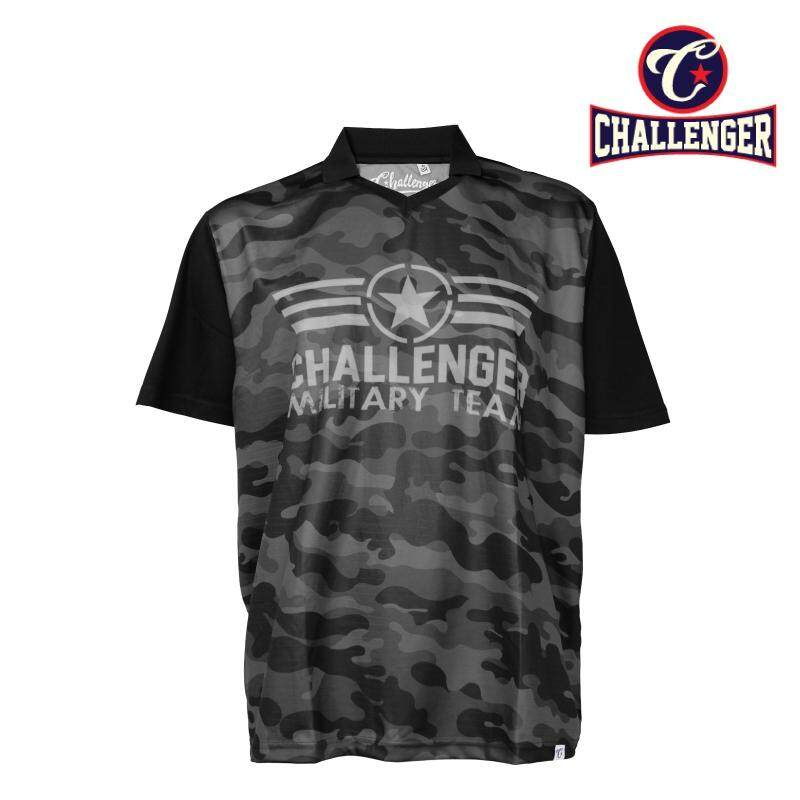 CHALLENGER BIG SIZE Collar V-Neck 2 in 1 Airforce T-shirt CH2015 (Black)