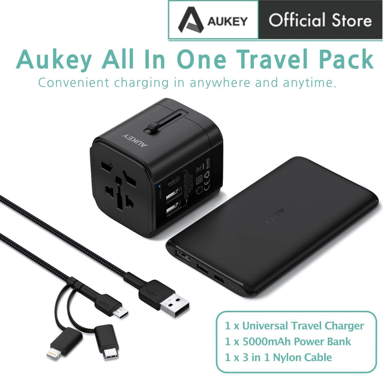 [12.12 Crazy Brand Mega Offers]Aukey TA-1 3 In 1 Travel Kit Pack With USB C Power Bank, Travel Charger Adapter, 3 In 1 Micro USB C Lightning Cable