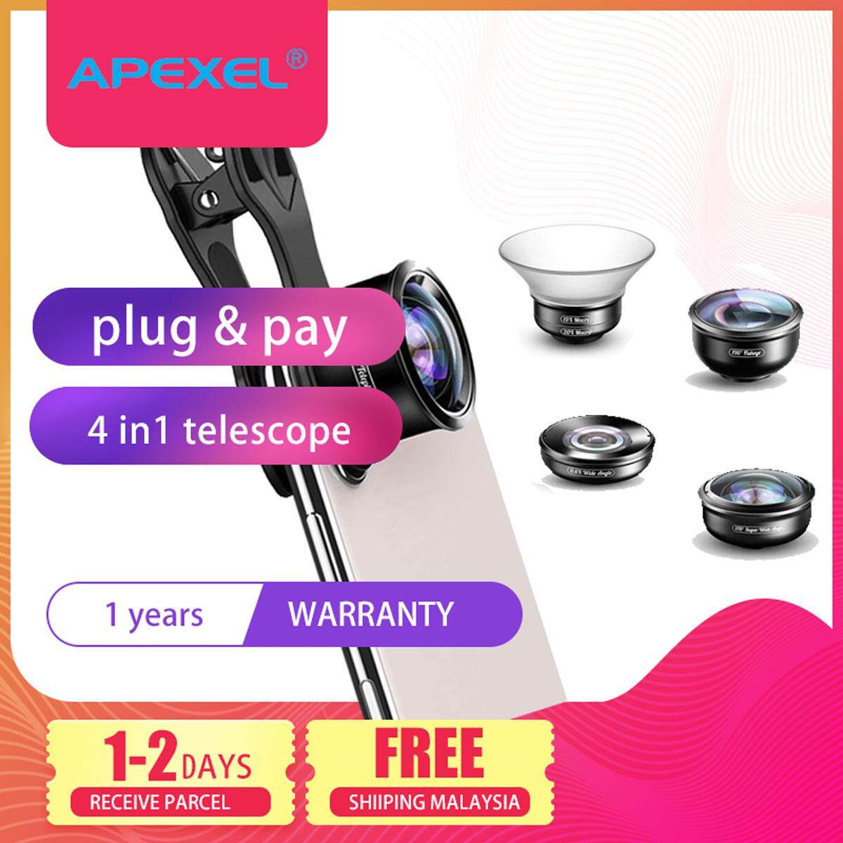 Apexel 5 in 1 mobile Phone Camera Lens Kit Professional HD Fisheye Super Wide Angle Macro Lens APL-HD5 for Apple Iphone Huawei Samsung S10 Xiaomi Oppo Vivo