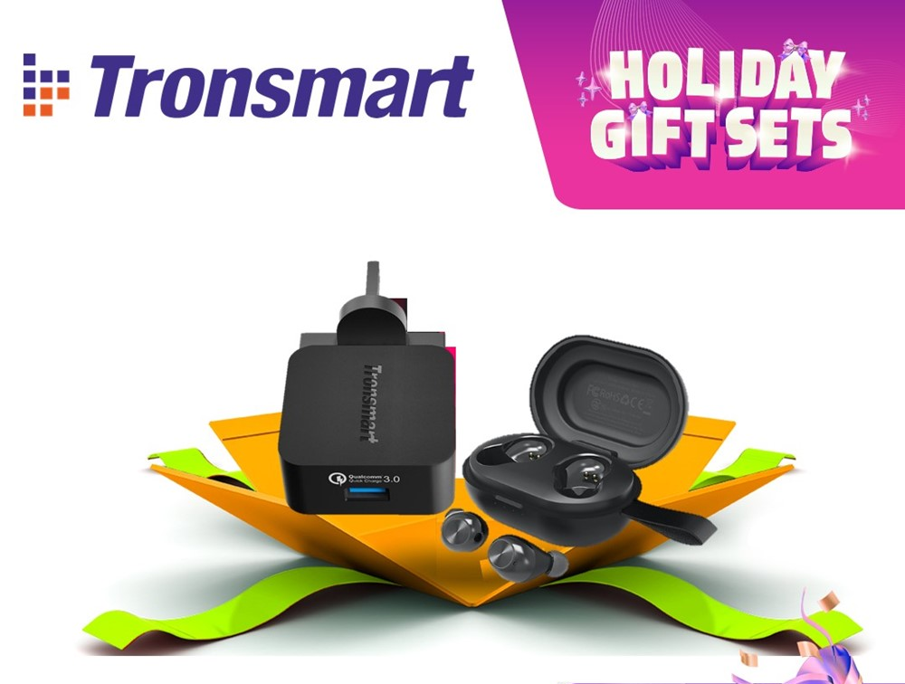 Tronsmart Spunky Beat TWS Bluetooth Earbud + WC1T 1 Port Quick Charge Wall Charger Holiday Gift Set
