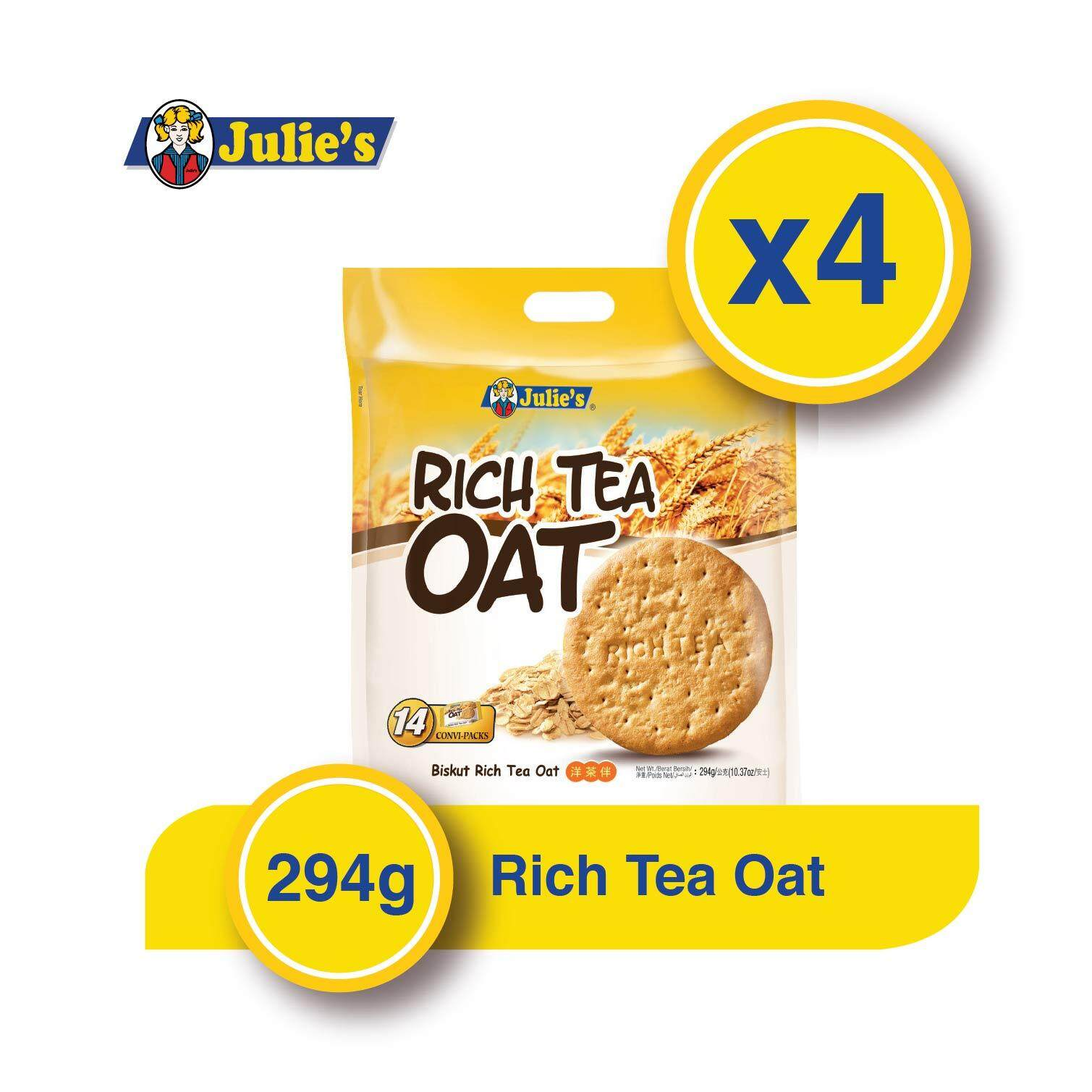 Julie's Rich Tea Oat (360g x 4 packet) + Free 5pack Convi pack Biscuit