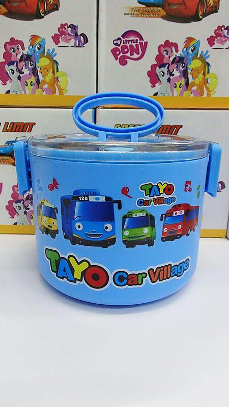 [Ready Stock] 1 Layer Stainless Steel Cartoon Lunch Box (BGJAYA)-Tayo Bus