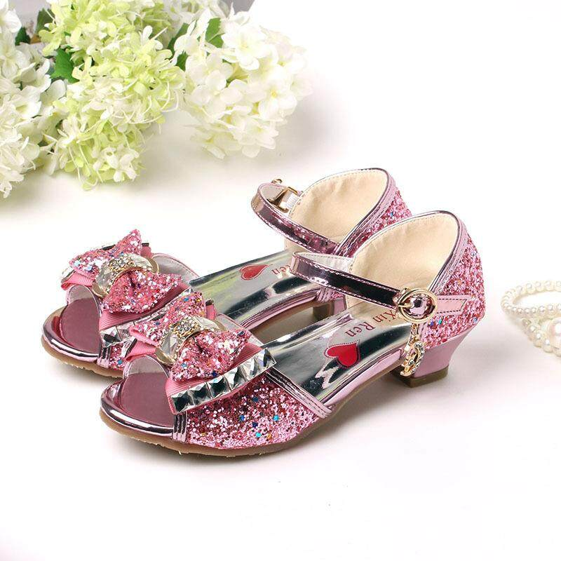 Giá bán Kids Girls Shoes High Heels For Party Sequined Blue Pink Sandals Ankle Strap Snow Queen Children Girls Shoes