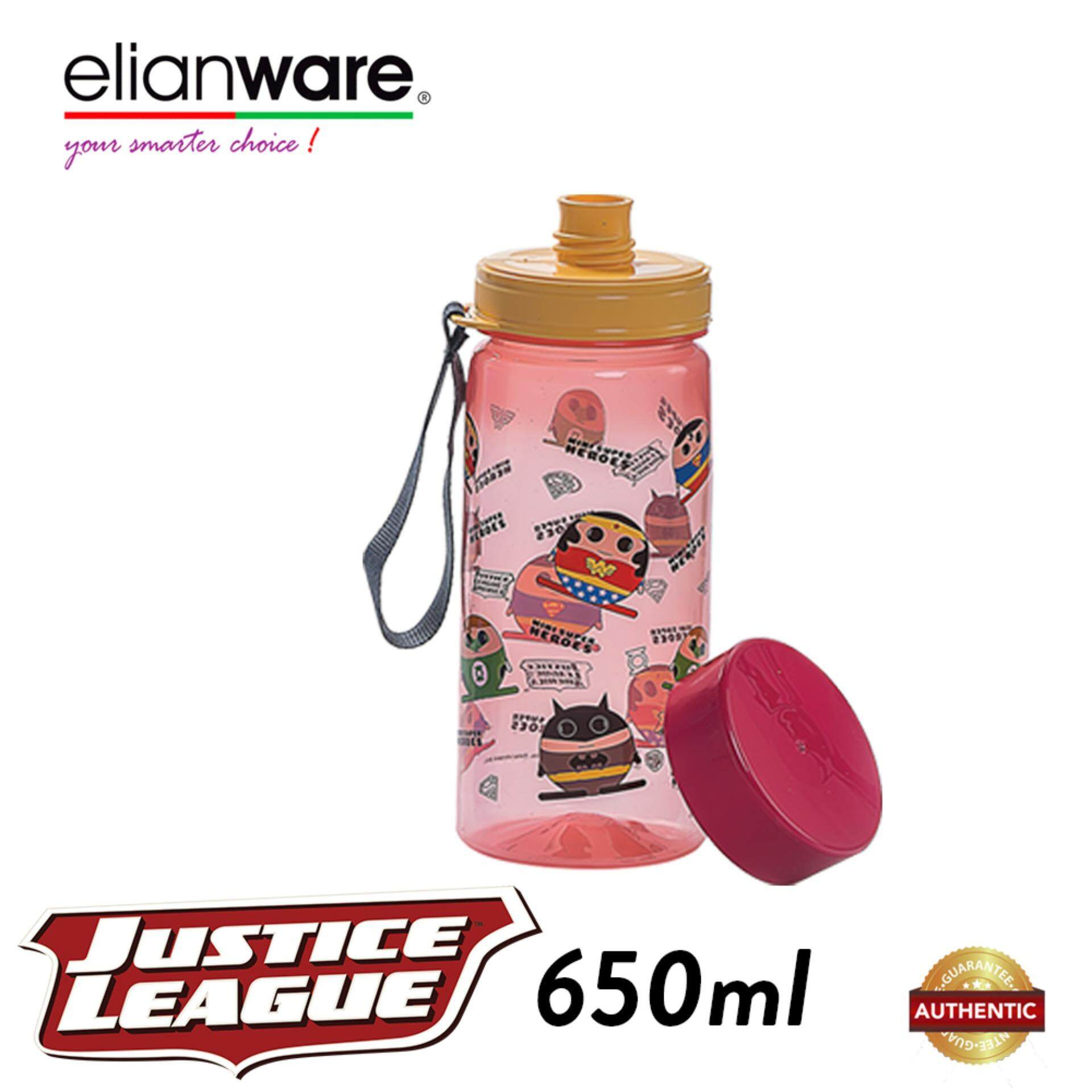 Elianware DC Justice League 650ml BPA Free Mini Super Heroes Water Bottle
