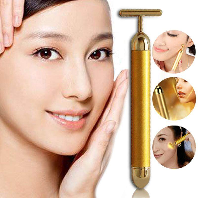 24K Gold T Bar Face Lifting V Shaping Slimming Pulse Massager Stick Rids Water Retention & Double Chin Beauty Bar